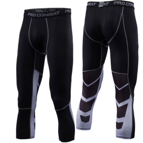 Mens Workout 3//4 Compression Pants Sports Baselayer Under Skin Tights Black Gym