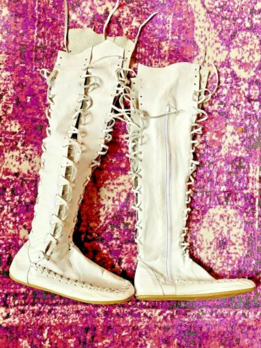 Gipsy Dharma White Knee High Leather Boots Pixie F