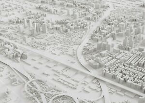 A1-3D-City-Model-Aerial-View-Poster-Art-Print-60-x-90cm-180gsm-Cool-Gift-16323