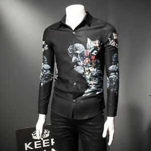 Men/'s Casual Floral Print Slim Fit Shirt Lapel Button Long Sleeve Shirts Tops