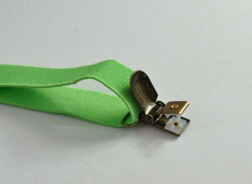 Baby Boys Lime Green Elastic Suspenders Braces Bronze Metal Clips for Men