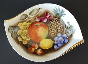 Decorative Hand Painted Porcelain Fruit Bowl Made in Japan Mid Century Decor