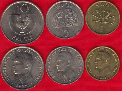 1-10 ekuele 1975 km#32,33,34 XF-AU Equatorial Guinea set of 3 coins