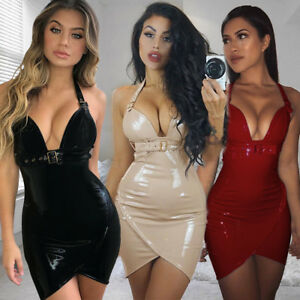 Sexy Women Clubwear Backless Mini Dress Bodycon Deep V Neck Party