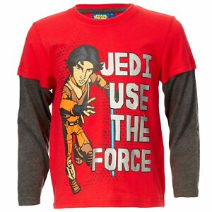 DISNEY-t-shirt-STAR-WARS-6-8-ou-12-ans-manches-longues-rouge-NEUF