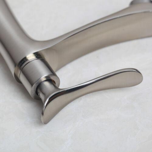 Brushed Nickel Vintage Brass Bathroom Basin Sink Faucet Single Lever Mixer Tap