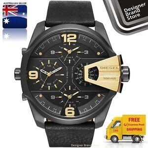 New-Diesel-Mens-Watch-Uber-Chief-Black-Ip-Leather-Strap-Gold-Trim-Chrono-DZ7377