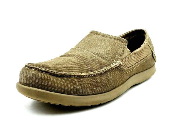 NWT CROCS SANTA CRUZ KHAKI BLACK BROWN canvas loafers 7 8 9 10 11 12 men SLIP ON