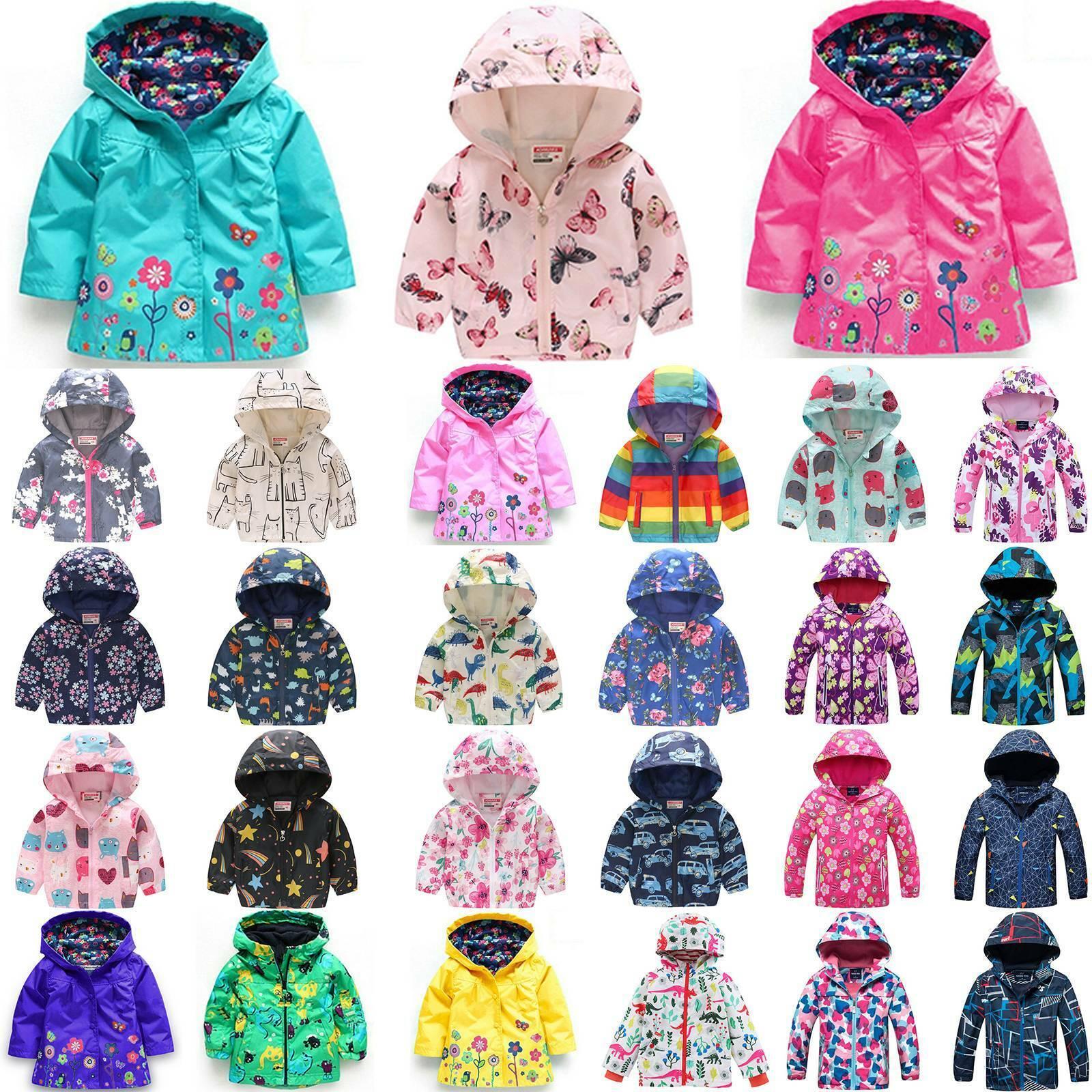 Fashion Kids Boys Waterproof Windproof Hooded Rain Coat Jacket Outerwear Clothes