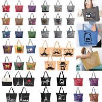 Women Girl Canvas Eco Shopping Tote Shoulder Handbag Beach Bag Shopper Satchel