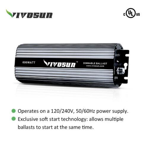 VIVOSUN 400w 600w 1000w Watt Grow Light System HPS MH Ballast Air Cool Hood Kit