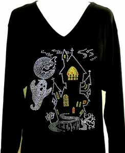 Haunted Rhinestone Top Small Ghost Embellished Ghoul House Bats Halloween 1qxRAv