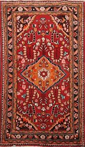 Excellent-Vintage-Traditional-Floral-Area-Rug-Handmade-Wool-Oriental-Carpet-4x5