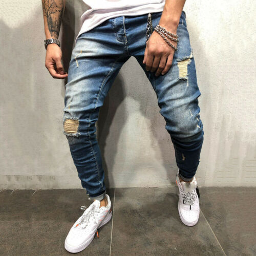 Mens Jeans Pants Skinny Ripped Frayed Casual Stretchy Slim Biker Denim Trousers