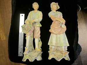 Pair Huge UNSIGNED Antique French Quality Bisque Porcelain Statue Figurines 16""