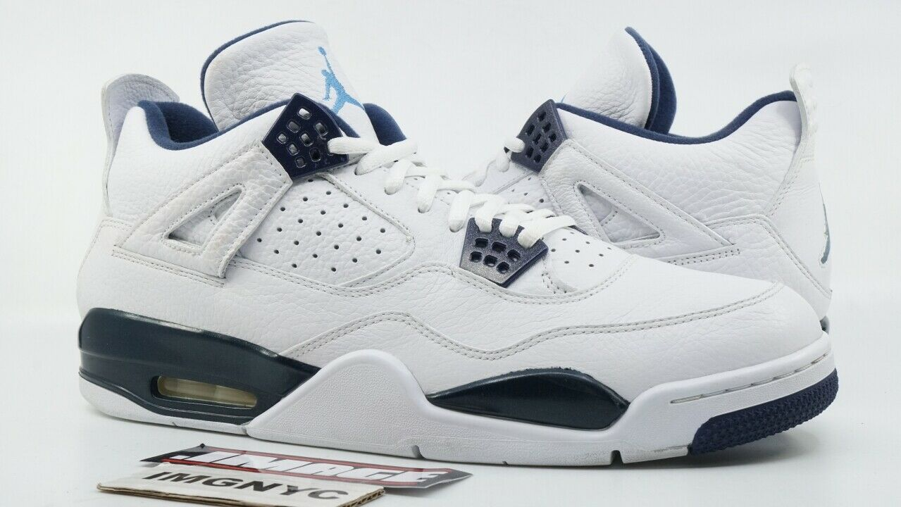 AIR JORDAN IV RETRO LS USED SIZE 13 WHITE LEGEND blueE MIDNIGHT NAVY 314254 107