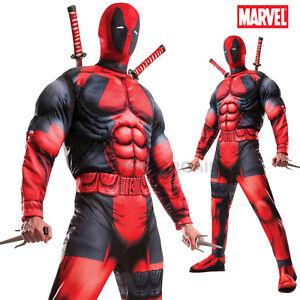 Deadpool Costume Mens Adult Deluxe XL Muscle Chest Halloween X-Men ...