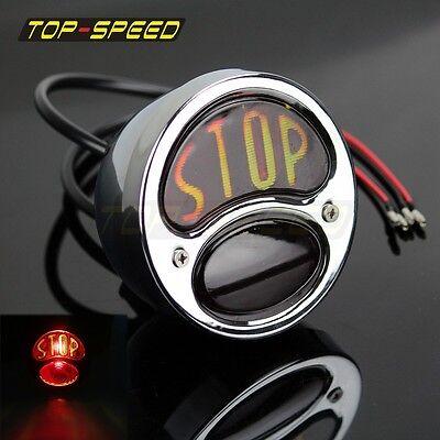 Model A Ford Motorcycle Tail light BOBBER STOP Lens Stainless steel 12V light