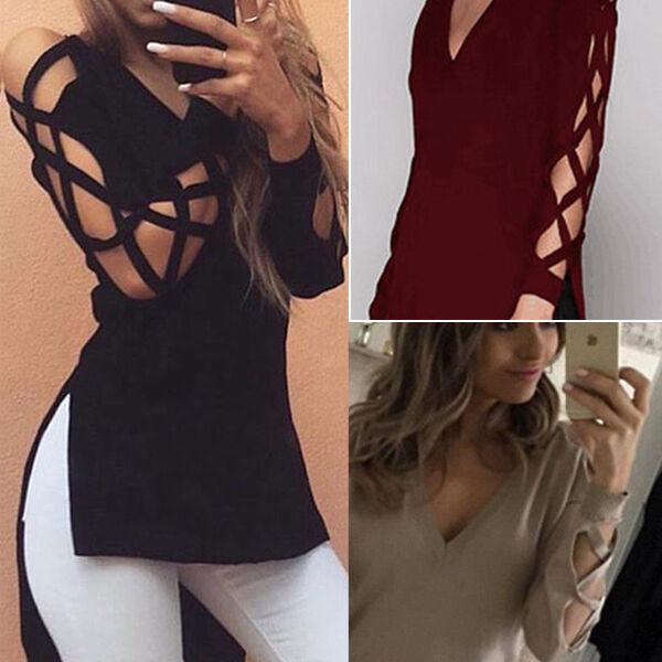 AU Women's Loose V Neck T Shirt Long Sleeve Cotton Side Split Tops Shirts Blouse