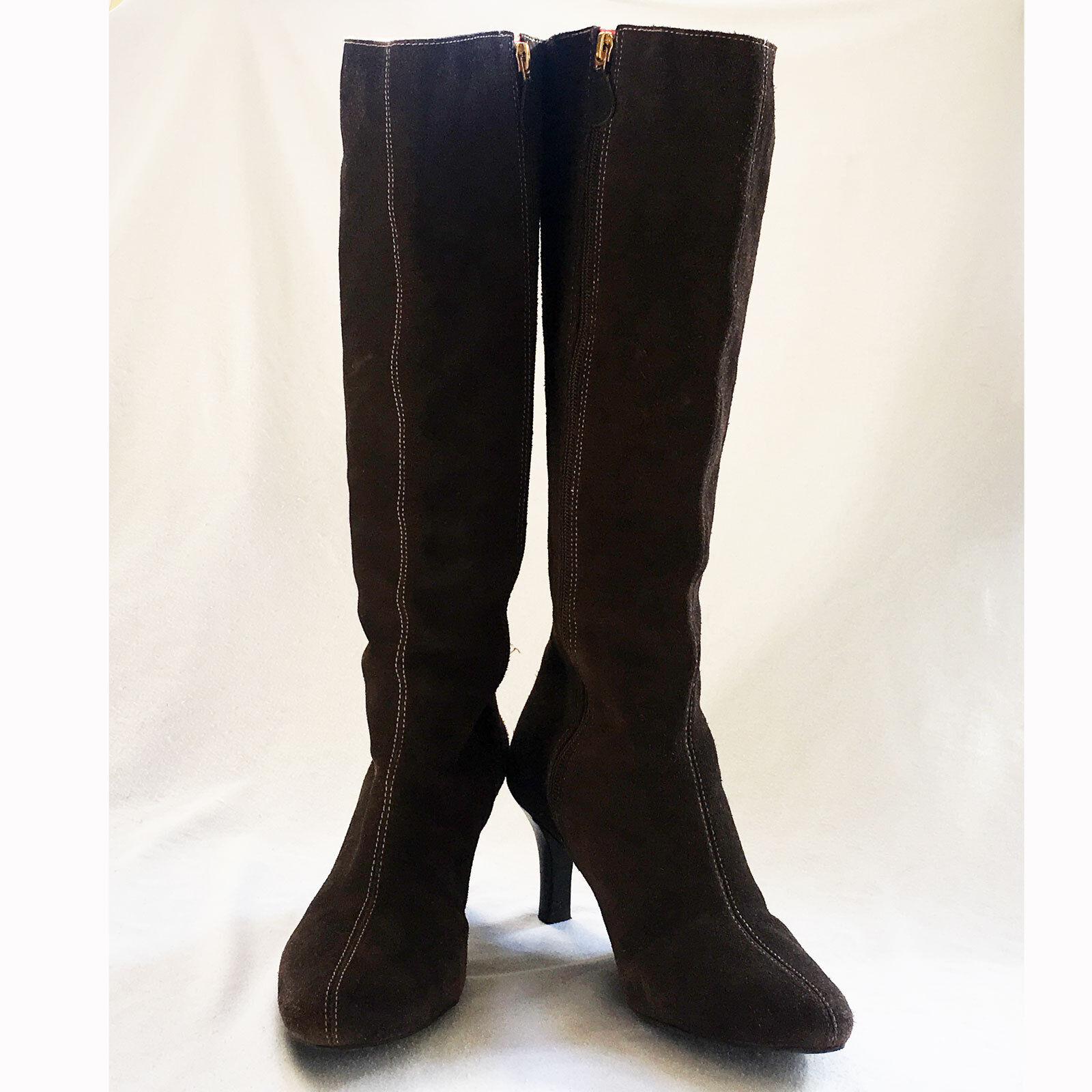 Lilly Pulitzer     Brown Suede Boots w  gold Logo Size 8M 829c0c