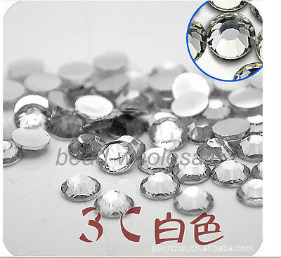2000pcs Wholesale Acrylic Rhinestone Half Round Flatback Beads Craft For DIY