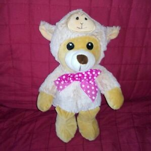 Dan-Dee-Brown-Teddy-Bear-in-Tan-Sheep-Suit-Pink-Nylon-Bow-Dots-Soft-12in-Plush