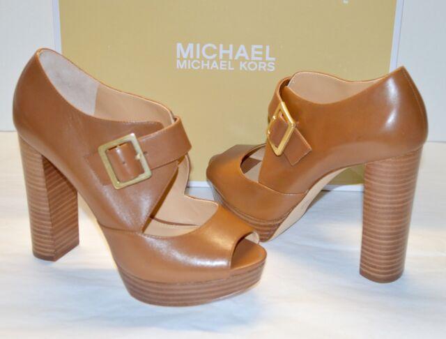 3b9b5f6f21d New  165 Michael Kors Eleni Platform Brown Leather Buckle Sandal Peep  Luggage