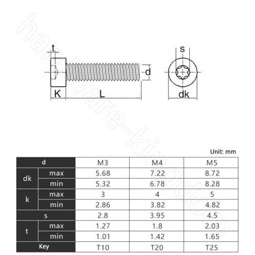 Torx Socket Cap Screws Grade 12.9 Torx Head Allen Bolts Screw M5 M6 M8 M10