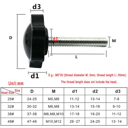 M5 M6 Black Plastic Six Corners Star Thumb Screws Hand Grip Knob Bolt Thumbscrew