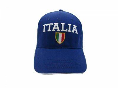Cappello Italia Ricamato Misura 58 Cm Regolabile Blu Stemma Tricolore Azzurri Ultimo Stile