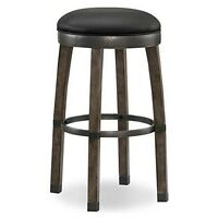Graystone Wood Cask Stave Bar Height Stool With Black Faux Leather Seat Set Of 2