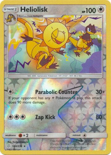 180//236 Reverse Holo Foil Pokemon COSMIC ECLIPSE Heliolisk