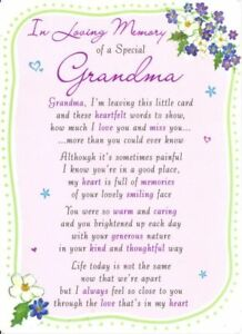 Details about Grave Card IN LOVING MEMORY OF A SPECIAL GRANDMA Poem Verse  Memorial Funeral💔