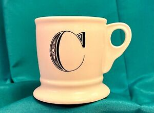 Anthropologie C Initial  Letter Coffee Tea Mug White Shaving Cup Style