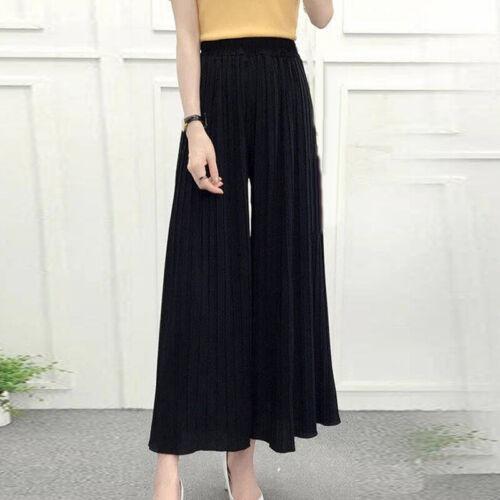 Womens Pleated Chiffon Wide Leg Pants Elastic Waist Loose Cropped Trousers 2020