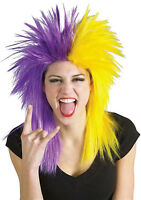 Purple And Yellow Sports Fan Fanatic Wig