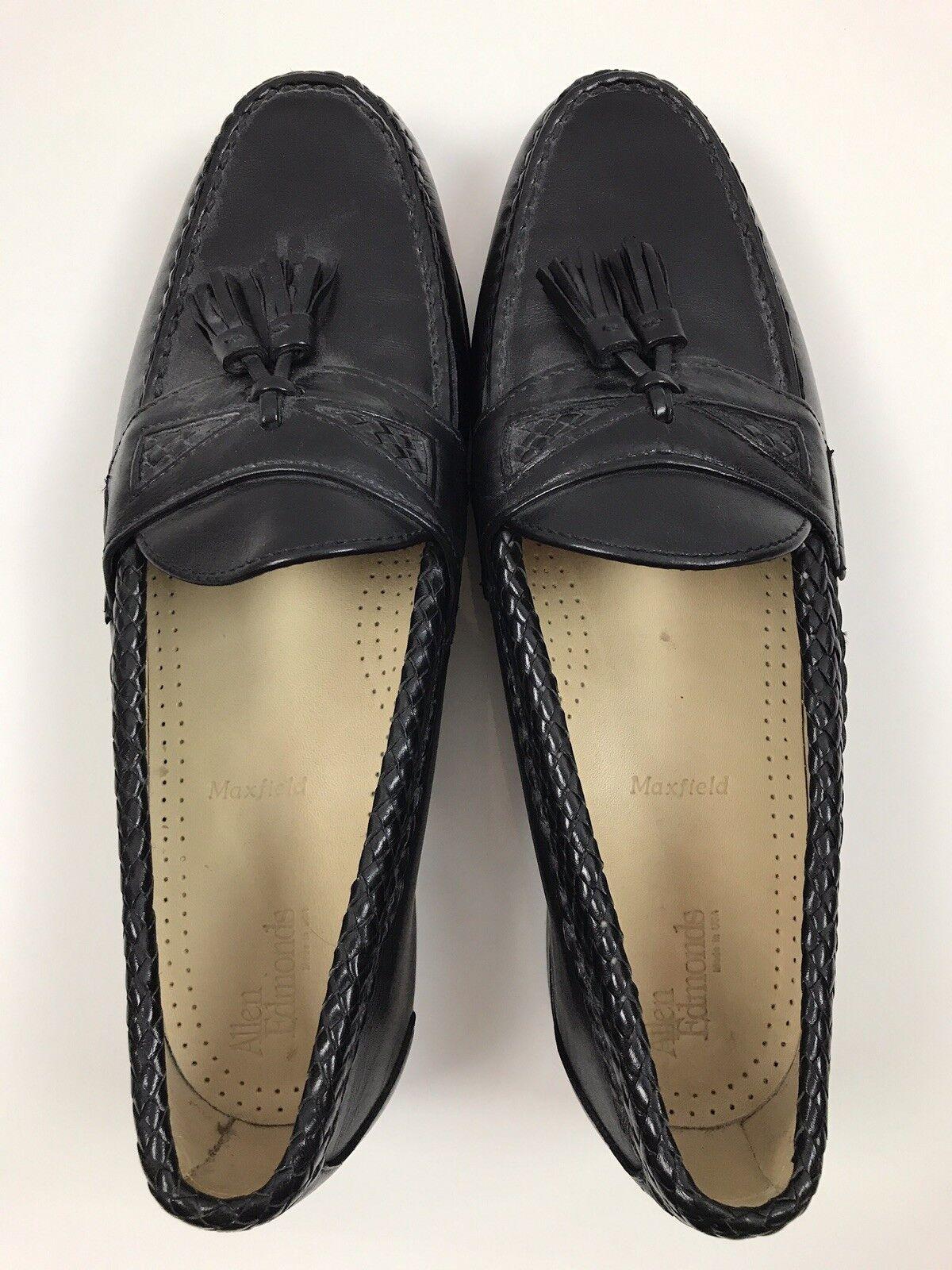 Allen Edmonds Black Maxfield Tassel Loafers Braided Mens 11 D shoes