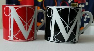One-Red-and-white-And-one-Black-and-white-Letter-M-Mugs-By-MMA-Made-In-Japan