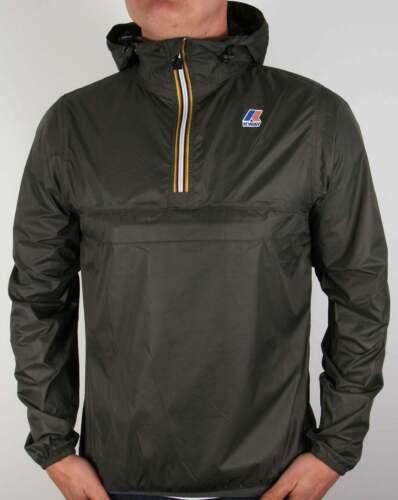 waterproof Leon K-Way Half Zip Jacket in Torba Green hooded pac a mac coat