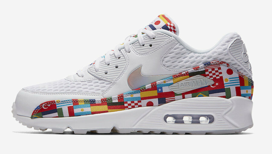 2018 Nike Air Max 90 NIC QS SZ 9 One World Cup International Flag AO5119-100