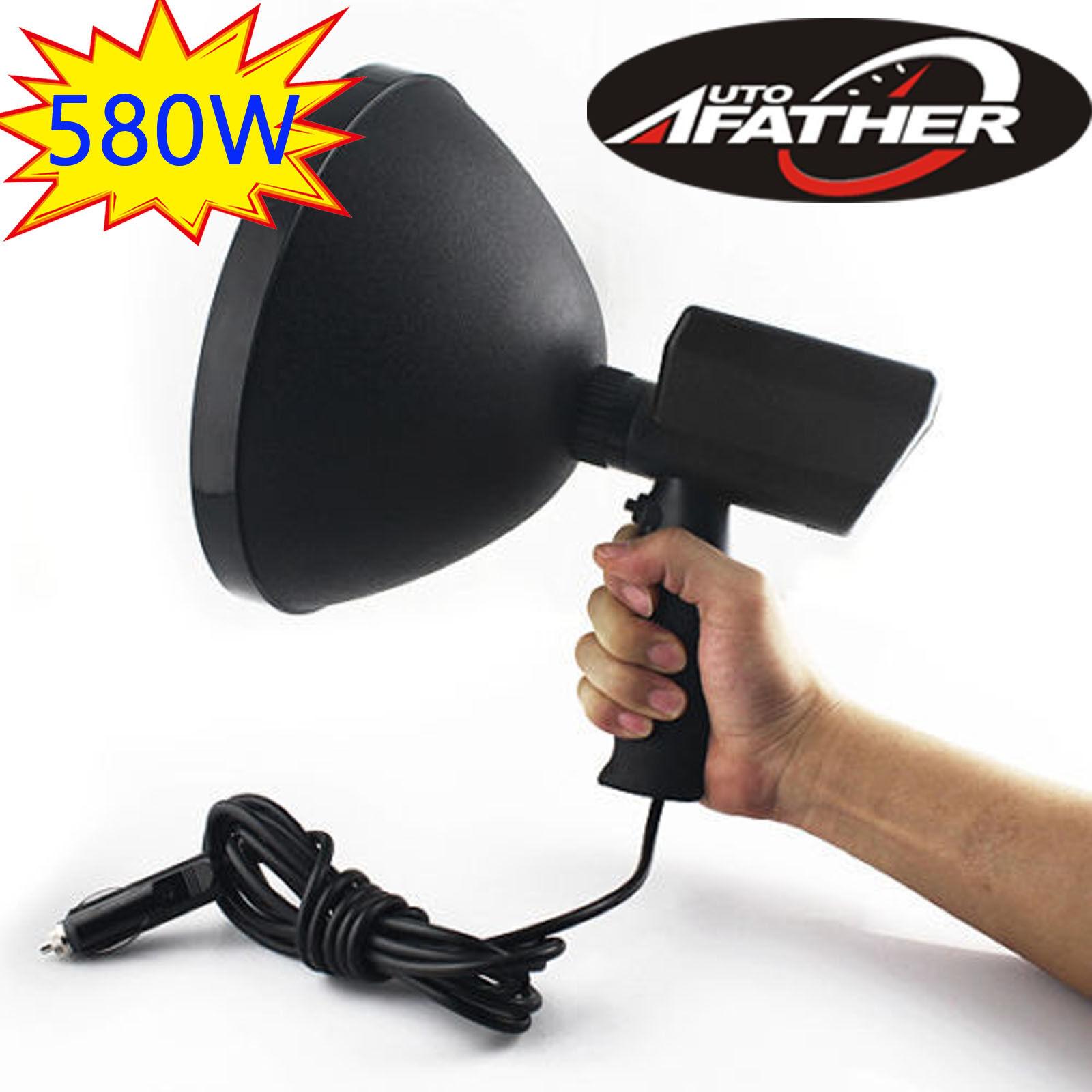 9 Inch 580W 12V HandHeld HID Spotlight Driving Lights Hunting Search light 6000K