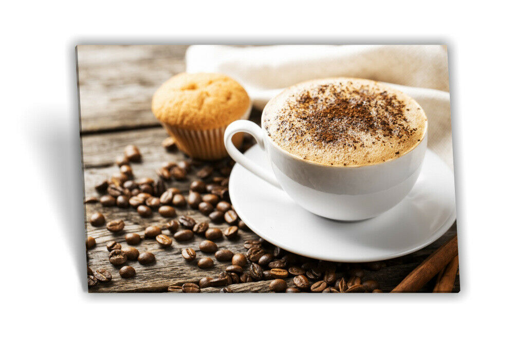 Leinwand-Bild Keilrahmen-Bild Kaffee-Tasse Croissant Kaffee-Bohnen Mühle Küche
