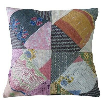 Vintage Patchwork Sofa Kantha Style Multicolor Cushion Case Pillow 45X45CM COVER