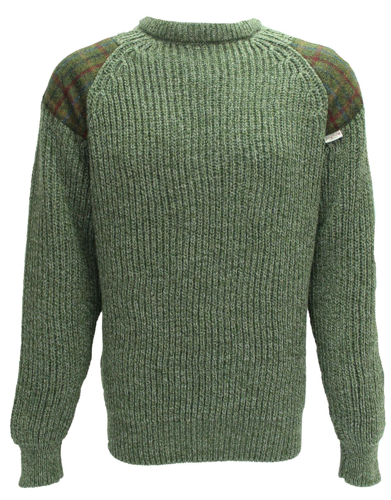 Klassisch Rundhals sweatshirt Harris Tweed patch 100% Britisch Wolle   41120