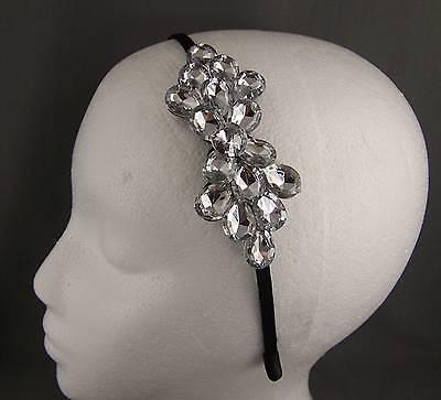 Clear crystal thin skinny dressy headband hair accessory head piece fascinator