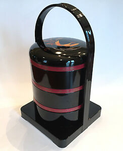 black lacquer 3 stacking lunch boxes yamamoto kansai. Black Bedroom Furniture Sets. Home Design Ideas