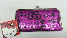 SANRIO HELLO KITTY LADY WOMEN DAZZLED SEQUIN KISS LOCK FRAME WALLET PURPLE L@@K