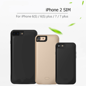 Battery Case Charger Dual SIM Standby Adapter For iPhone 6 6S 7 ... 700f538913