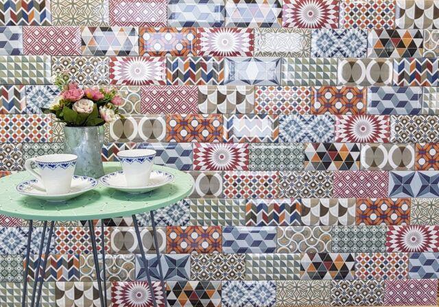 Horesholme Patchwork Metro Multi Colour Feature Wall Tiles 7 5 x 15cm