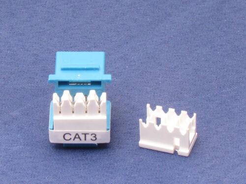 100 X Pcs CAT3 Blue Keystone Jack RJ11 6P4C Phone Telephone RJ12 Modular CAT 3